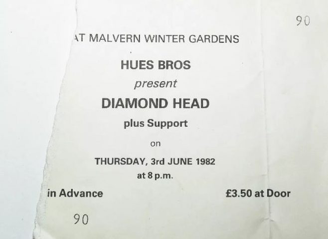 Ticket for Diamond Head at Malvern Winter Gardens, 03 June 1982
