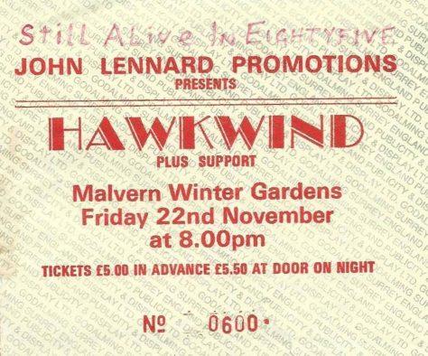 Ticket for Hawkwind at Malvern Winter Gardens, 22 November 1985