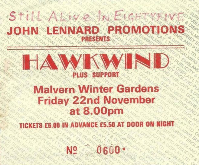 Ticket for Hawkwind at Malvern Winter Gardens, 22 November 1985