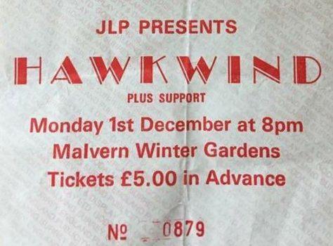 Ticket for Hawkwind at Malvern Winter Gardens, 1 December 1986
