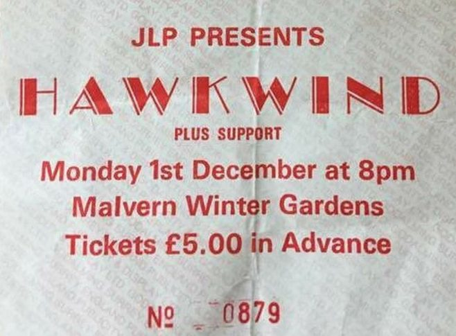 Ticket for Hawkwind at Malvern Winter Gardens, 1 December 1986