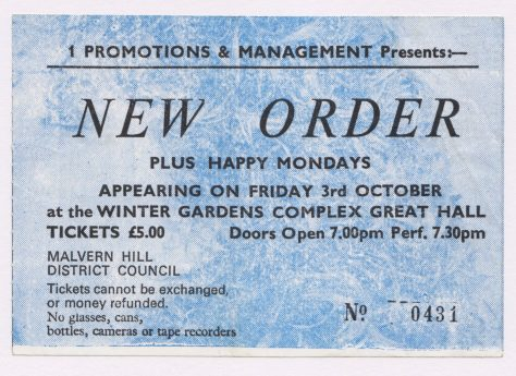 Ticket for New Order at Malvern Winter Gardens, 03 October 1986