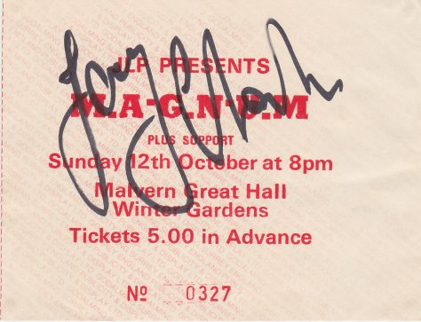 Ticket for Magnum at Malvern Winter Gardens, 12 October 1986, autographed by Tony Clarkin