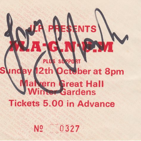 Ticket for Magnum at Malvern Winter Gardens, 12 |October 1986