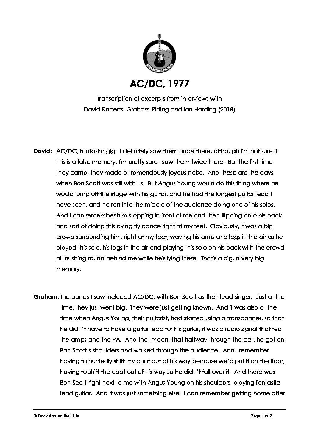 Memories of AC/DC at Malvern Winter Gardens, 1977