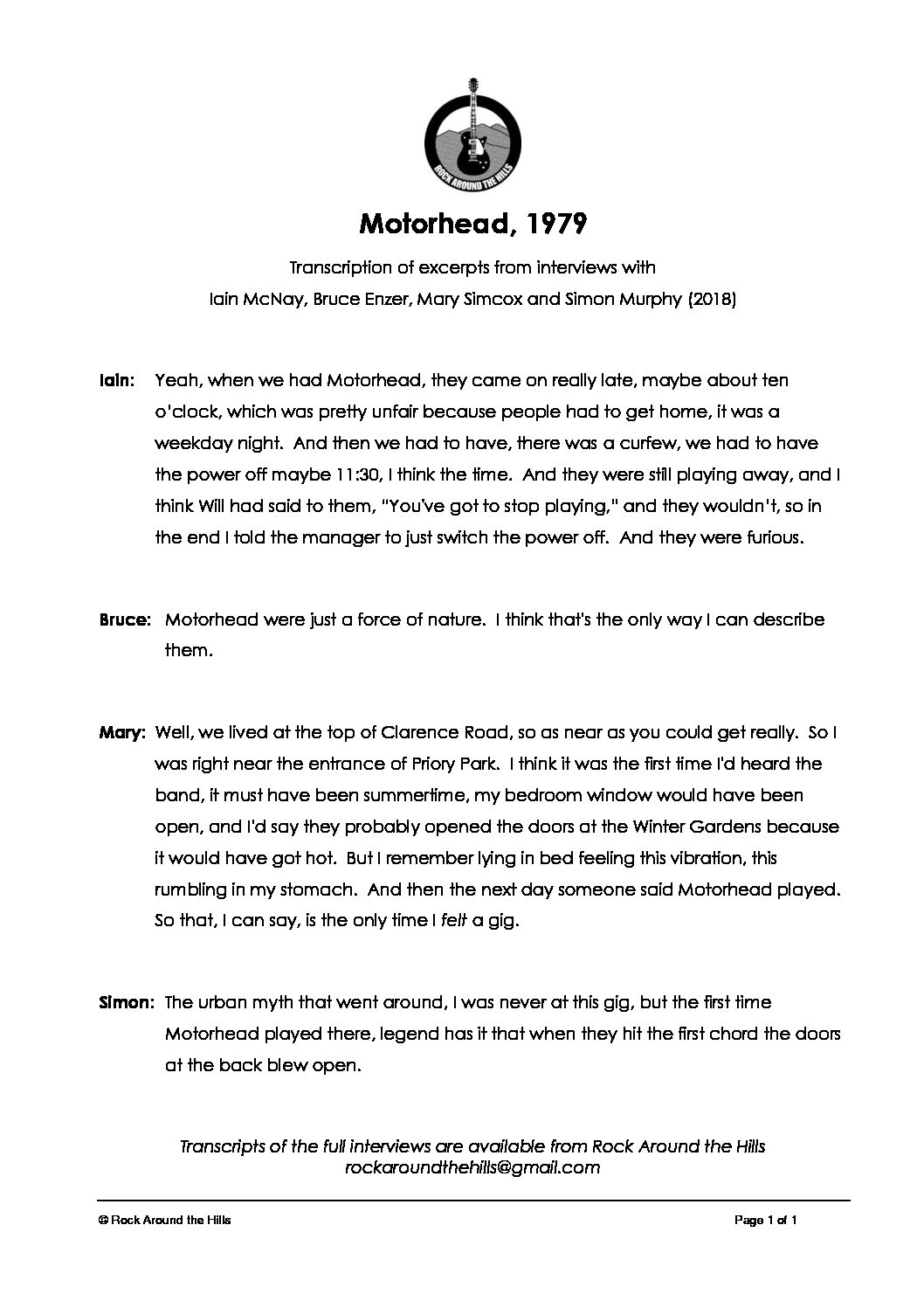 Memories of Motorhead at Malvern Winter Gardens, 1979