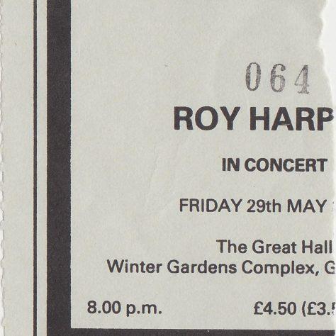 Ticket for Roy Harper at Malvern Winter Gardens, 29 May 1987