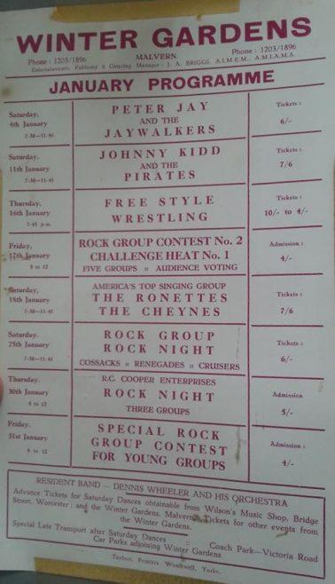 Programme for Malvern Winter Gardens, January 1964