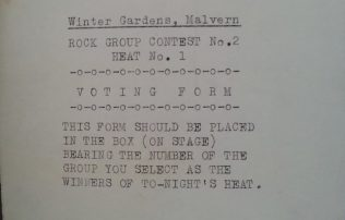 Voting form for Rock Contest No. 2 (Heat 1), 17 January 1964