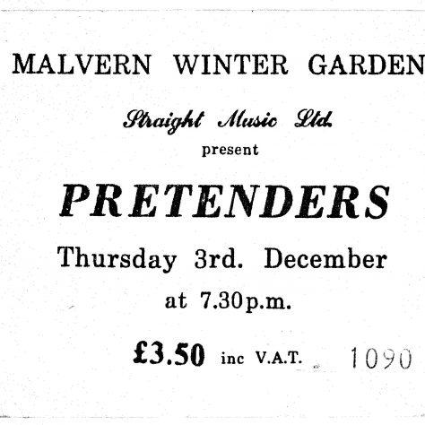 Ticket for The Pretenders at Malvern Winter Gardens, 03 December 1981
