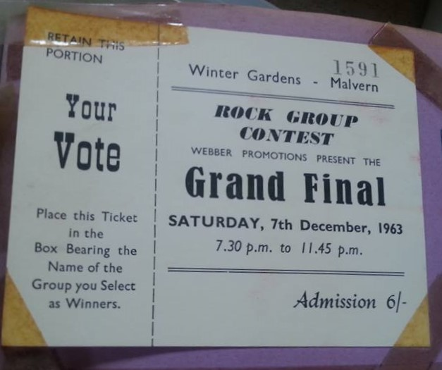 Ticket for Rock Group Contest (Grand Final) at Malvern Winter Gardens, 7 December 1963