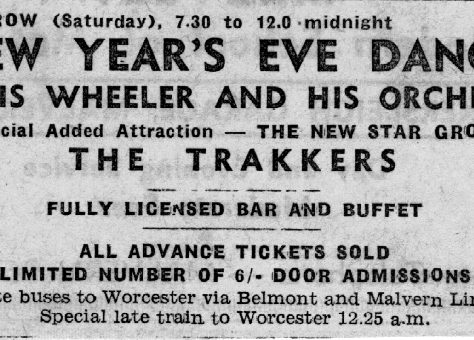 Newspaper advert for New Years Eve Dance at Malvern Winter Gardens, 31 December 1960