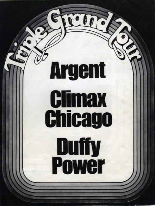 Advertisement for Argent, Climax Chicago Blues Band and Duffy Power tour, 1971. Possibly from Melody Maker or New Musical Express | Contributed by Robert Forsyth