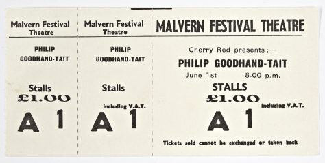 Ticket for Phillip Goodhand-Tait at Malvern Festival Theatre, 1 June 1974