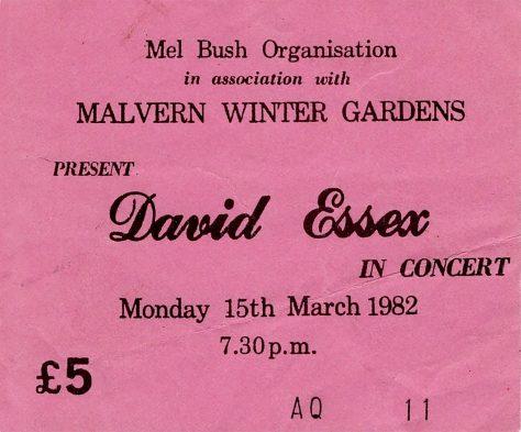 Ticket for David Essex at Malvern Winter Gardens, 15 March 1982