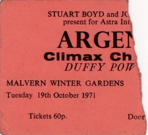 Ticket for Argent at Malvern Winter Gardens, 19 October 1971