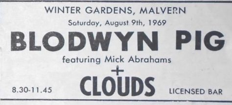 Ticket for Blodwyn Pig at Malvern Winter Gardens, 9 August 1969