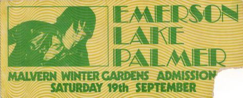 Ticket for Emerson, Lake and Palmer at Malvern Winter Gardens, 19 September 1970